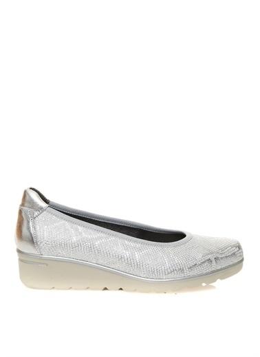 Divarese Divarese Kadın Deri Leyaz Düz Ayakkabı Gümüş